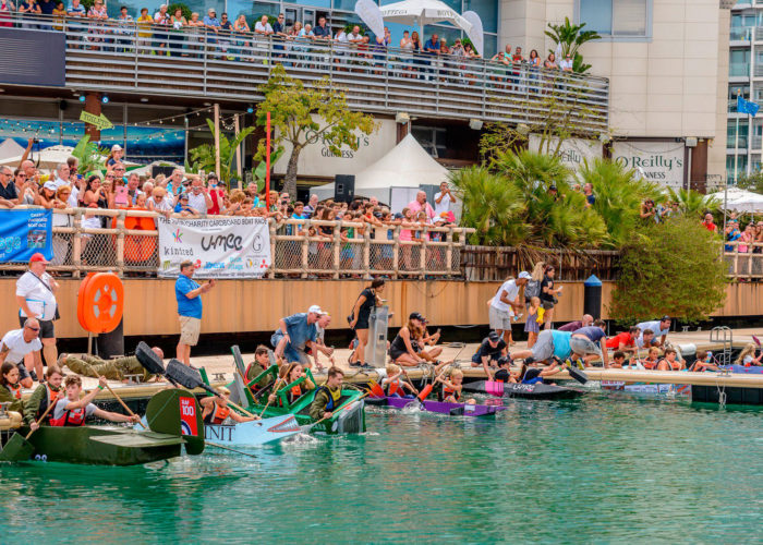 Raob charity cardboard boat race at Ocean Village Marina